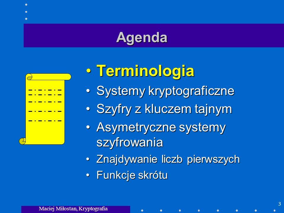Maciej Miłostan, Kryptografia 3 Agenda TerminologiaTerminologia Systemy kryptograficzneSystemy kryptograficzne Szyfry z kluczem tajnymSzyfry z kluczem