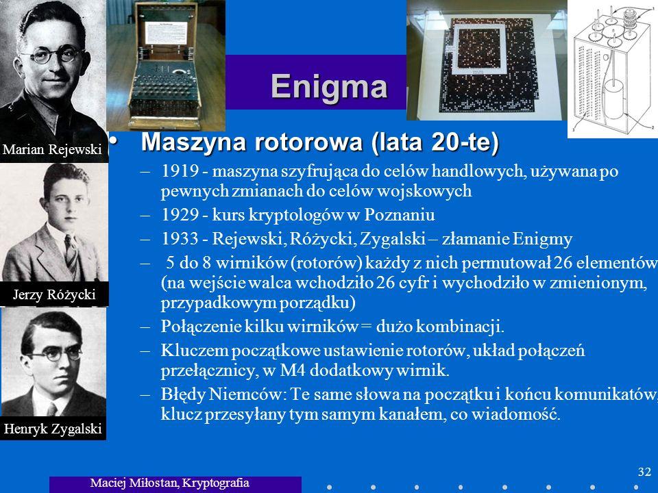 Maciej Miłostan, Kryptografia 32 Enigma Maszyna rotorowa (lata 20-te) Maszyna rotorowa (lata 20-te) –1919 - maszyna szyfrująca do celów handlowych, uż