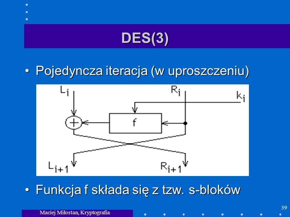Maciej Miłostan, Kryptografia 39 DES(3) Pojedyncza iteracja (w uproszczeniu)Pojedyncza iteracja (w uproszczeniu) Funkcja f składa się z tzw. s-blokówF