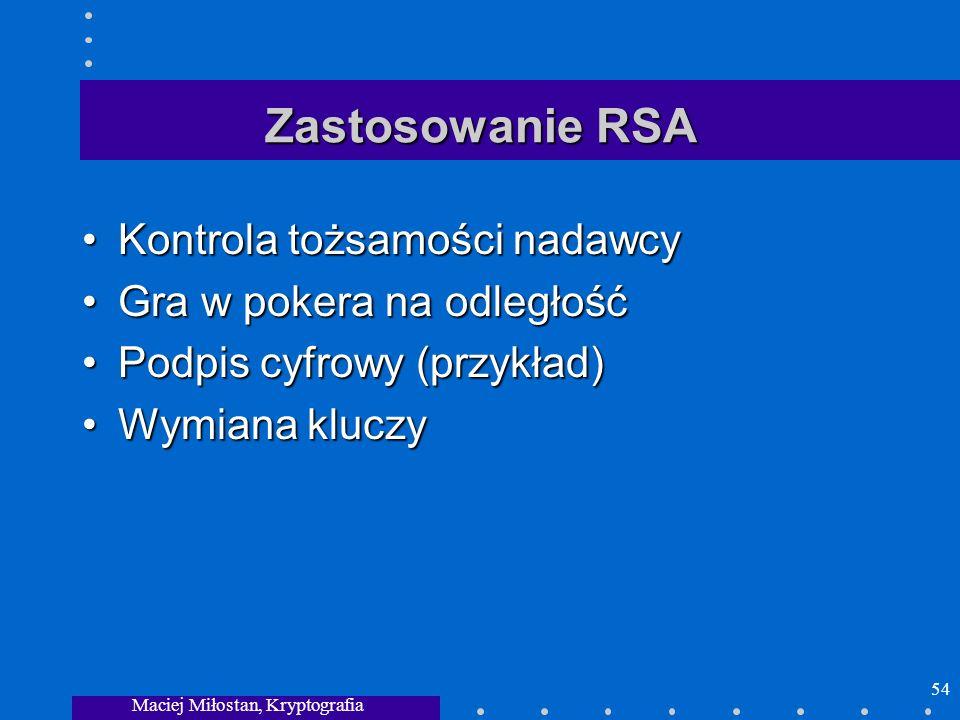 Maciej Miłostan, Kryptografia 54 Zastosowanie RSA Kontrola tożsamości nadawcyKontrola tożsamości nadawcy Gra w pokera na odległośćGra w pokera na odle