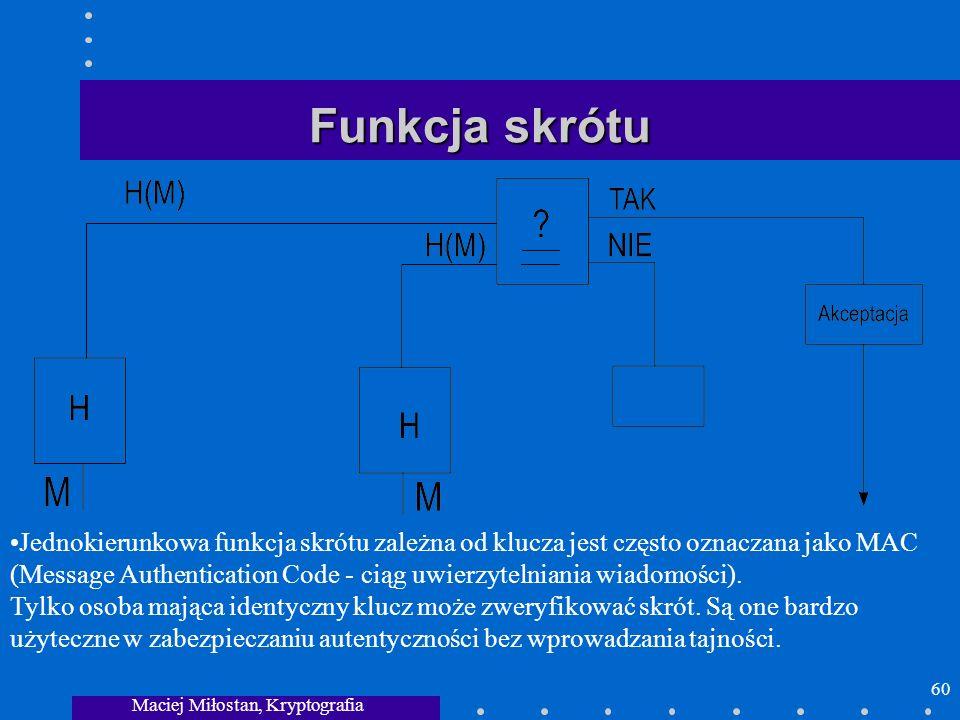 Maciej Miłostan, Kryptografia 60 Funkcja skrótu Jednokierunkowa funkcja skrótu zależna od klucza jest często oznaczana jako MAC (Message Authenticatio
