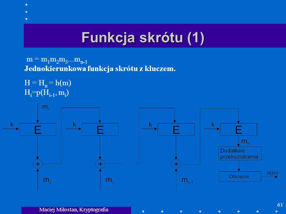 Maciej Miłostan, Kryptografia 61 Funkcja skrótu (1) m = m 1 m 2 m 3...m n-1 Jednokierunkowa funkcja skrótu z kluczem. H = H n = h(m) H i =p(H i-1, m i
