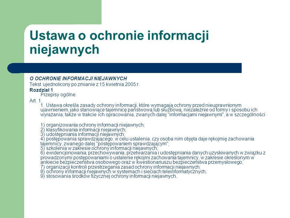 Ustawa o ochronie informacji niejawnych O OCHRONIE INFORMACJI NIEJAWNYCH Tekst ujednolicony po zmianie z 15 kwietnia 2005 r. Rozdział 1 Przepisy ogóln