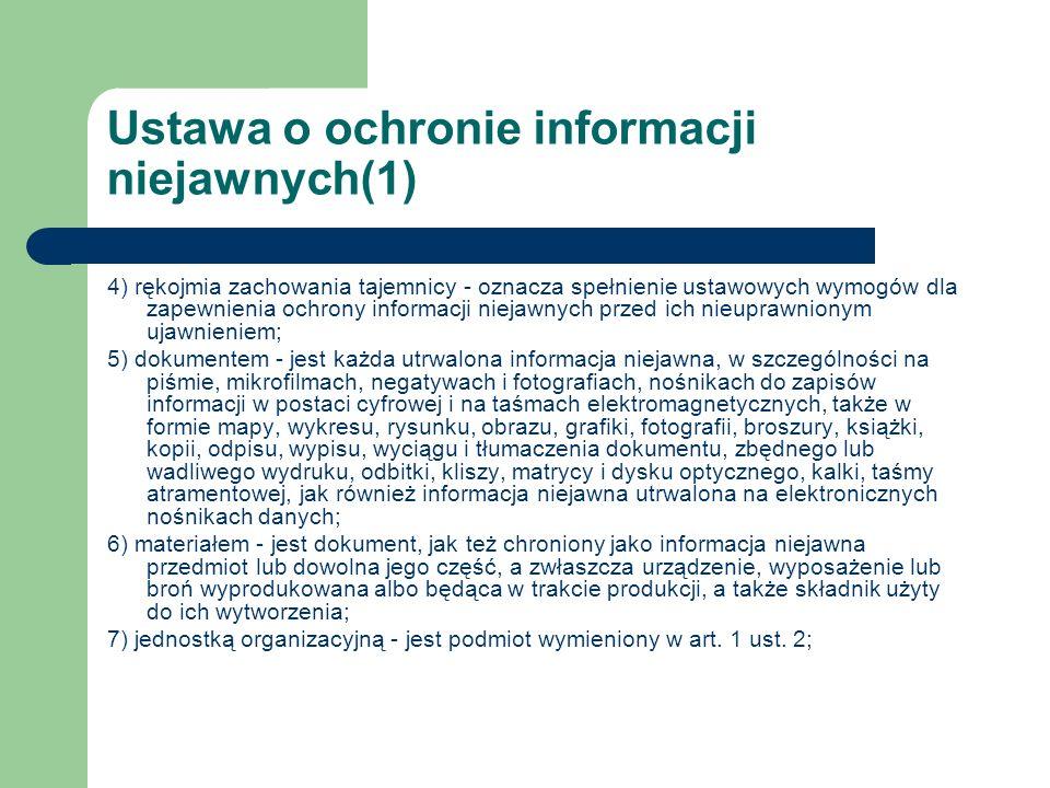 Ustawa o ochronie informacji niejawnych(1) 4) rękojmia zachowania tajemnicy - oznacza spełnienie ustawowych wymogów dla zapewnienia ochrony informacji
