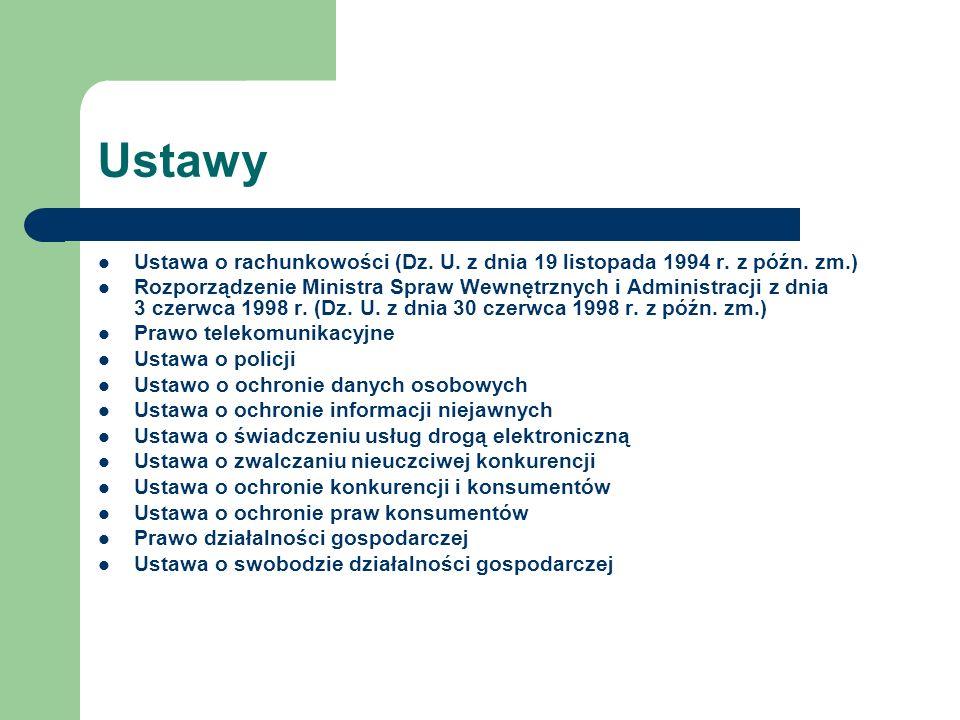 Ustawy Ustawa o rachunkowości (Dz. U. z dnia 19 listopada 1994 r. z późn. zm.) Rozporządzenie Ministra Spraw Wewnętrznych i Administracji z dnia 3 cze