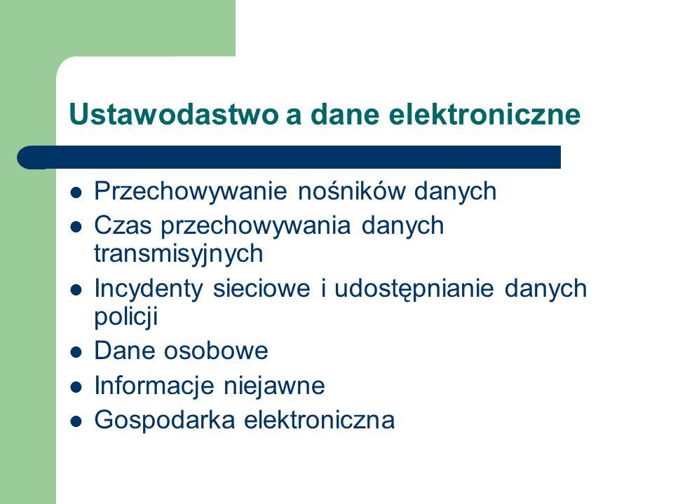 Ustawodastwo a dane elektroniczne Przechowywanie nośników danych Czas przechowywania danych transmisyjnych Incydenty sieciowe i udostępnianie danych p