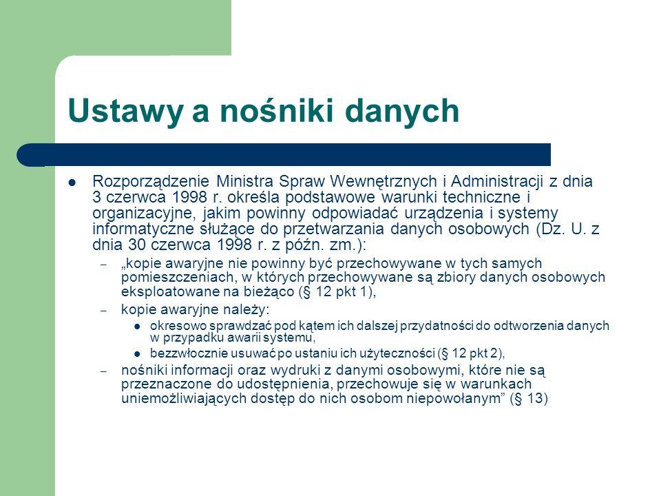 Ustawy a nośniki danych Rozporządzenie Ministra Spraw Wewnętrznych i Administracji z dnia 3 czerwca 1998 r. określa podstawowe warunki techniczne i or
