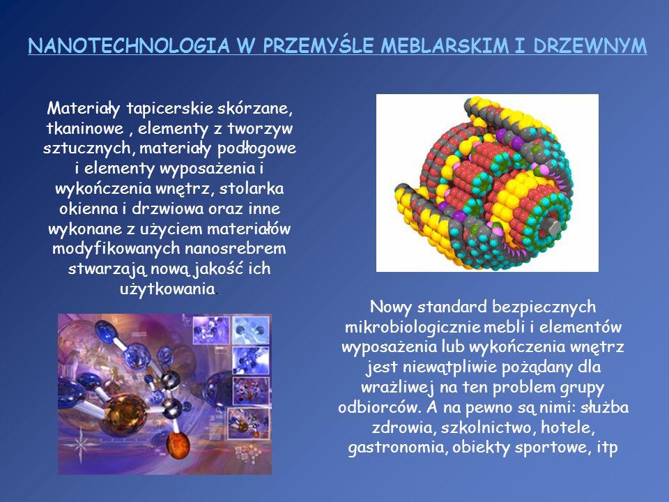 NANOTECHNOLOGIA W PRZEMYŚLE MEBLARSKIM I DRZEWNYM Materiały tapicerskie skórzane, tkaninowe, elementy z tworzyw sztucznych, materiały podłogowe i elem