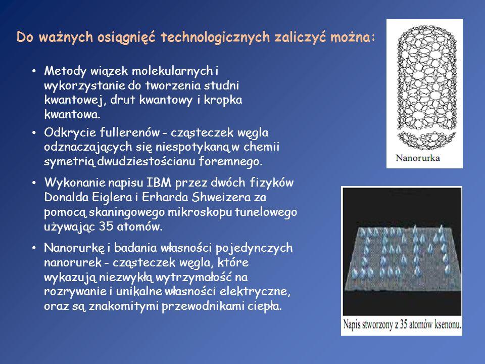 Metody wiązek molekularnych i wykorzystanie do tworzenia studni kwantowej, drut kwantowy i kropka kwantowa. Odkrycie fullerenów - cząsteczek węgla odz