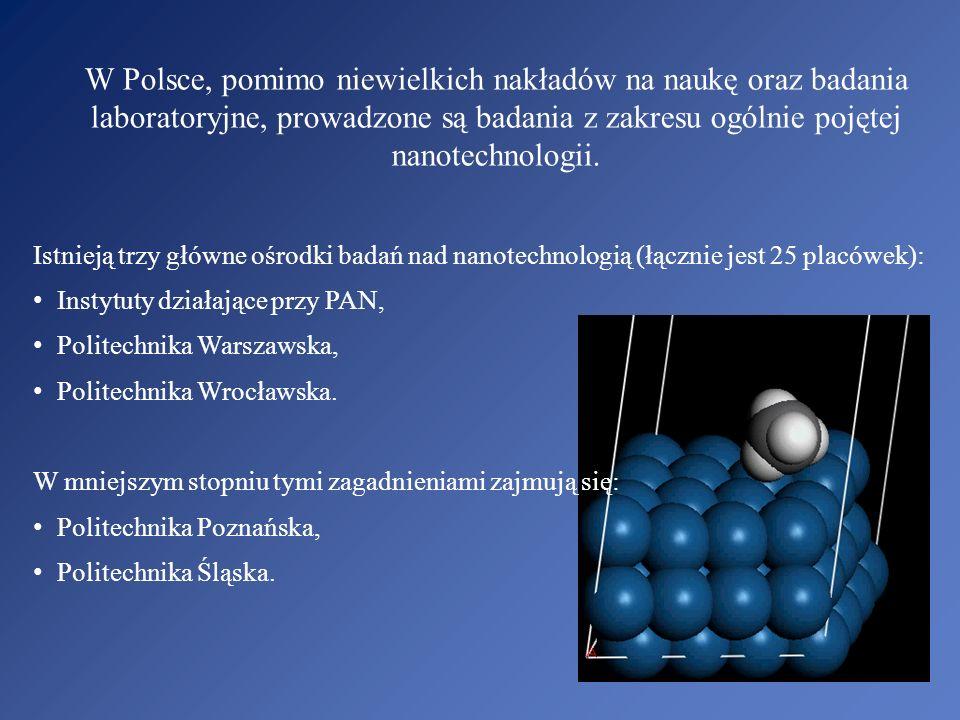 W Polsce, pomimo niewielkich nakładów na naukę oraz badania laboratoryjne, prowadzone są badania z zakresu ogólnie pojętej nanotechnologii. Istnieją t