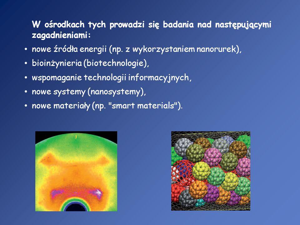 W ośrodkach tych prowadzi się badania nad następującymi zagadnieniami: nowe źródła energii (np. z wykorzystaniem nanorurek), bioinżynieria (biotechnol