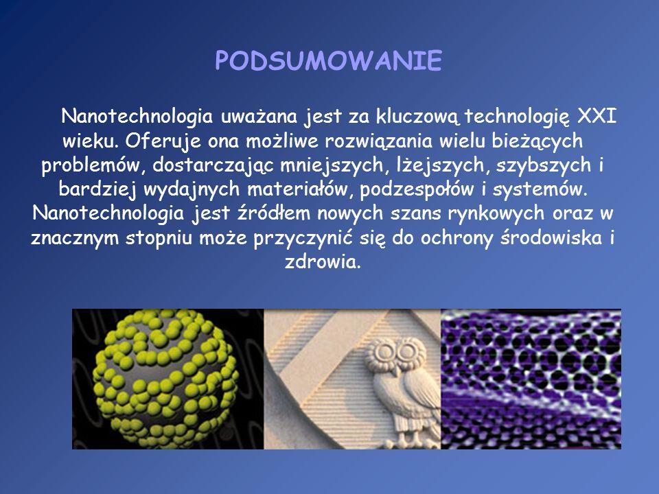 PODSUMOWANIE Nanotechnologia uważana jest za kluczową technologię XXI wieku. Oferuje ona możliwe rozwiązania wielu bieżących problemów, dostarczając m