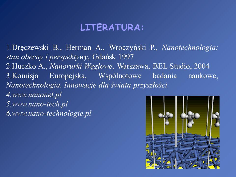 LITERATURA: 1.Dręczewski B., Herman A., Wroczyński P., Nanotechnologia: stan obecny i perspektywy, Gdańsk 1997 2.Huczko A., Nanorurki Węglowe, Warszaw