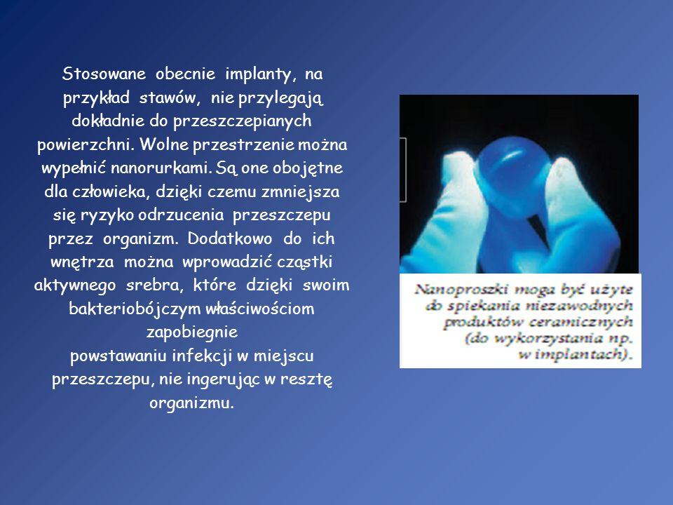 Stosowane obecnie implanty, na przykład stawów, nie przylegają dokładnie do przeszczepianych powierzchni. Wolne przestrzenie można wypełnić nanorurkam