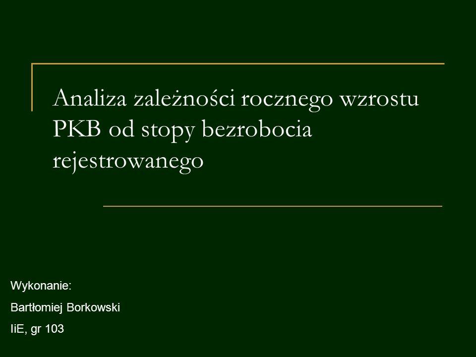 Analiza zależności rocznego wzrostu PKB od stopy bezrobocia rejestrowanego Wykonanie: Bartłomiej Borkowski IiE, gr 103