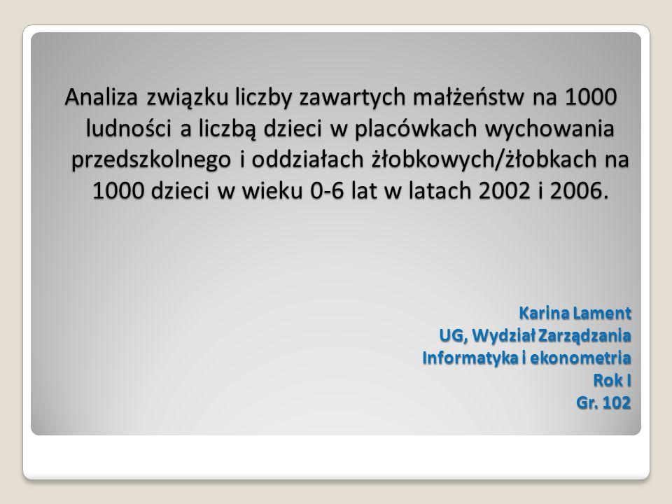 Karina Lament UG, Wydział Zarządzania Informatyka i ekonometria Rok I Gr. 102 Analiza związku liczby zawartych małżeństw na 1000 ludności a liczbą dzi