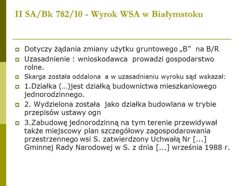II SA/Bk 782/10 - Wyrok WSA w Białymstoku Dotyczy żądania zmiany użytku gruntowego B na B/R Uzasadnienie : wnioskodawca prowadzi gospodarstwo rolne. S