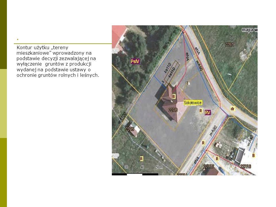 . Kontur użytku tereny mieszkaniowe wprowadzony na podstawie decyzji zezwalającej na wyłączenie gruntów z produkcji wydanej na podstawie ustawy o ochr