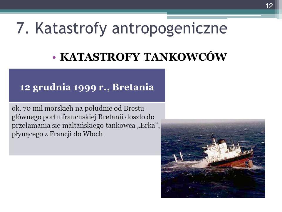 7. Katastrofy antropogeniczne KATASTROFY TANKOWCÓW 12 grudnia 1999 r., Bretania ok. 70 mil morskich na południe od Brestu - głównego portu francuskiej