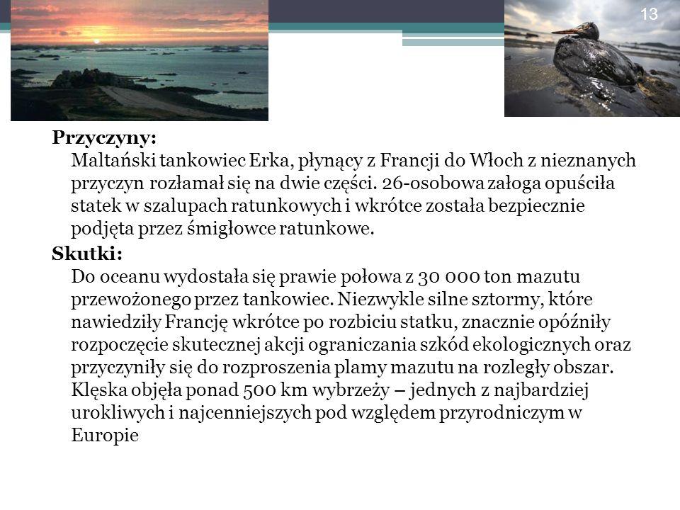 Przyczyny: Maltański tankowiec Erka, płynący z Francji do Włoch z nieznanych przyczyn rozłamał się na dwie części. 26-osobowa załoga opuściła statek w