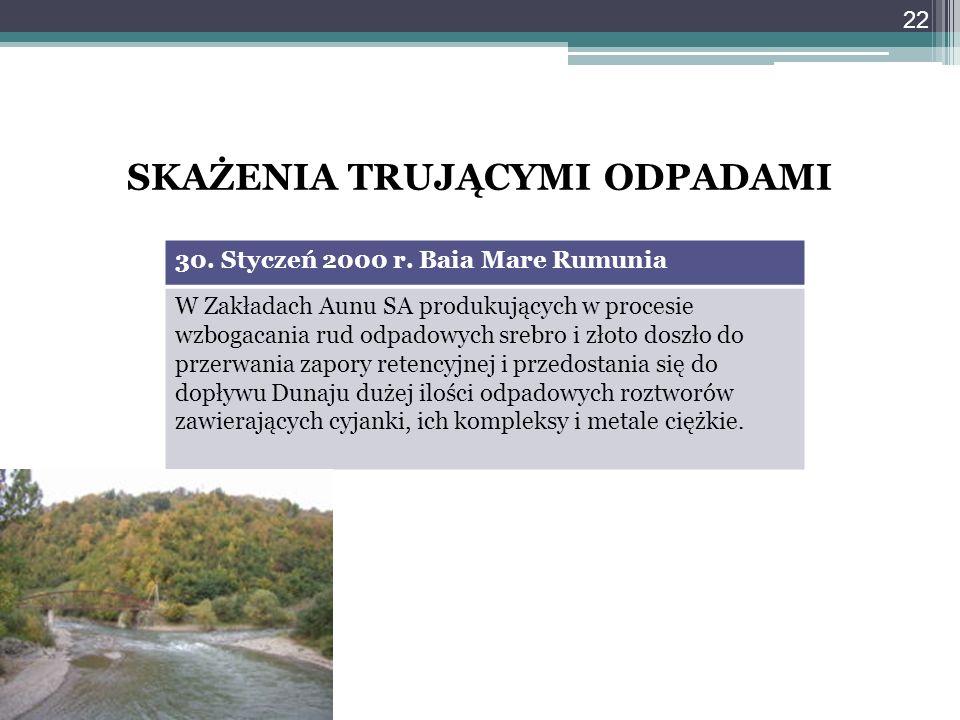 SKAŻENIA TRUJĄCYMI ODPADAMI 30. Styczeń 2000 r. Baia Mare Rumunia W Zakładach Aunu SA produkujących w procesie wzbogacania rud odpadowych srebro i zło