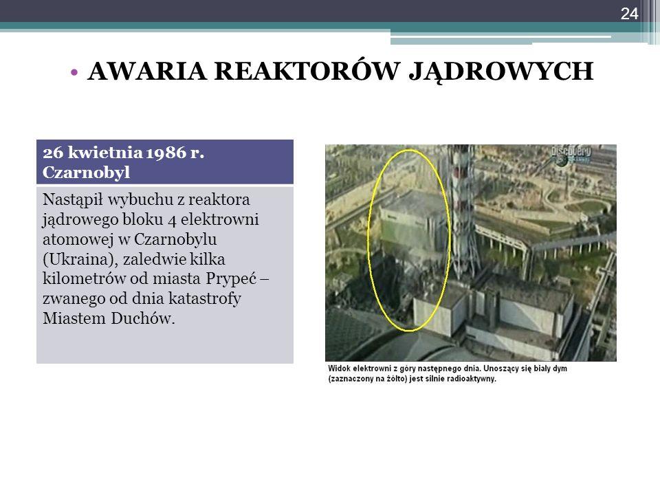 AWARIA REAKTORÓW JĄDROWYCH 26 kwietnia 1986 r. Czarnobyl Nastąpił wybuchu z reaktora jądrowego bloku 4 elektrowni atomowej w Czarnobylu (Ukraina), zal
