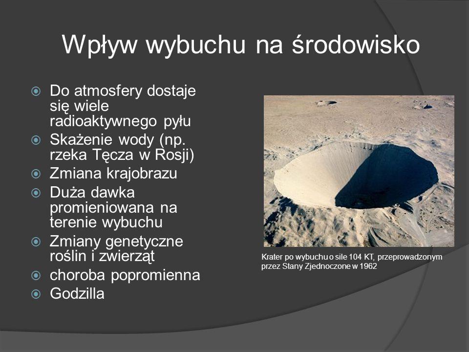 Wpływ wybuchu na środowisko Do atmosfery dostaje się wiele radioaktywnego pyłu Skażenie wody (np.