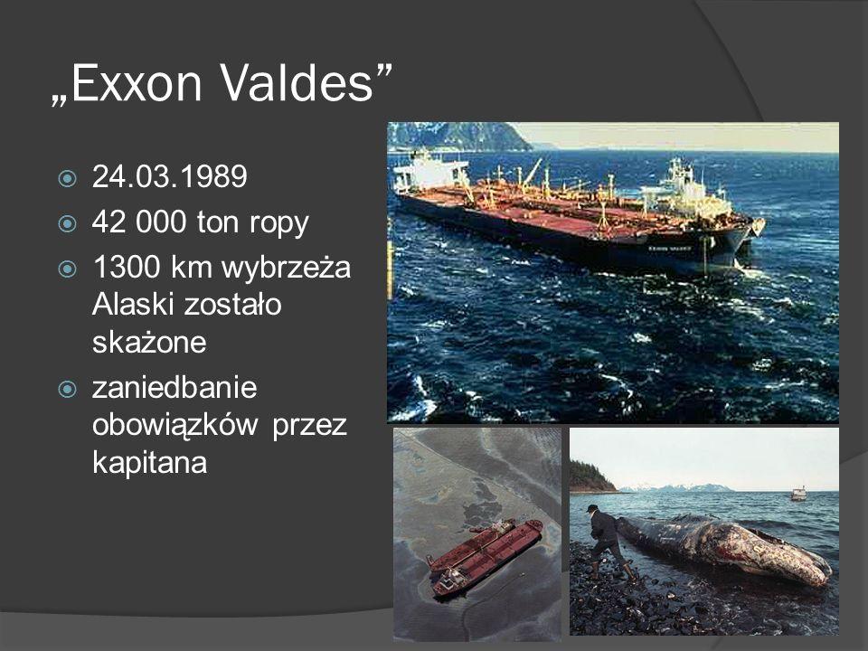 Exxon Valdes 24.03.1989 42 000 ton ropy 1300 km wybrzeża Alaski zostało skażone zaniedbanie obowiązków przez kapitana