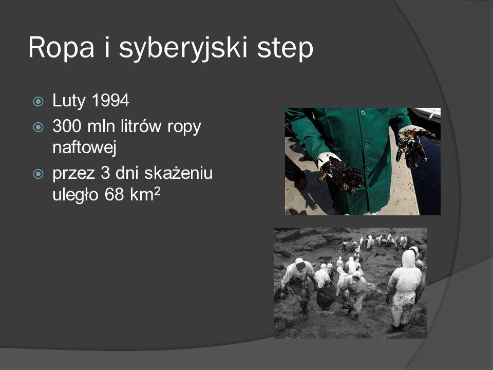 Ropa i syberyjski step Luty 1994 300 mln litrów ropy naftowej przez 3 dni skażeniu uległo 68 km 2