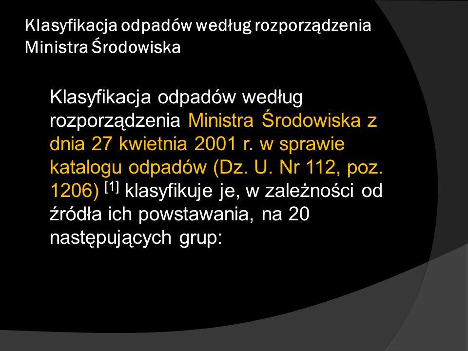 Klasyfikacja odpadów według rozporządzenia Ministra Środowiska Klasyfikacja odpadów według rozporządzenia Ministra Środowiska z dnia 27 kwietnia 2001