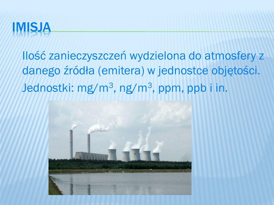 Ilość zanieczyszczeń wydzielona do atmosfery z danego źródła (emitera) w jednostce objętości. Jednostki: mg/m 3, ng/m 3, ppm, ppb i in.