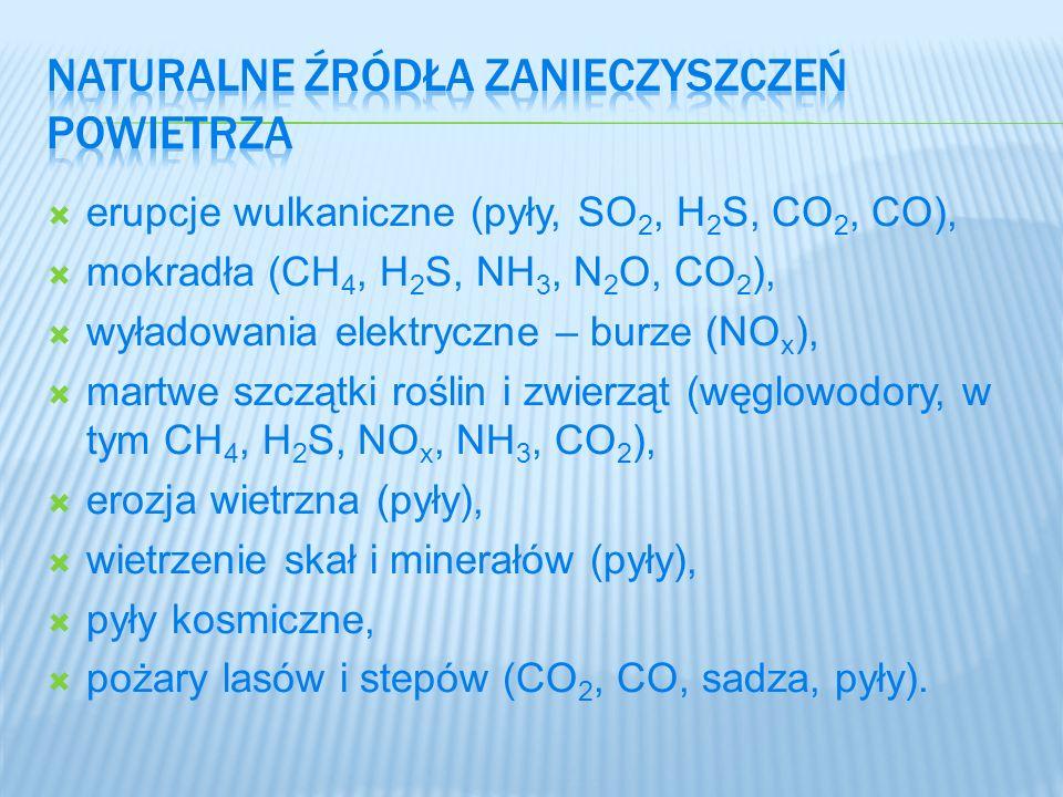 erupcje wulkaniczne (pyły, SO 2, H 2 S, CO 2, CO), mokradła (CH 4, H 2 S, NH 3, N 2 O, CO 2 ), wyładowania elektryczne – burze (NO x ), martwe szczątk
