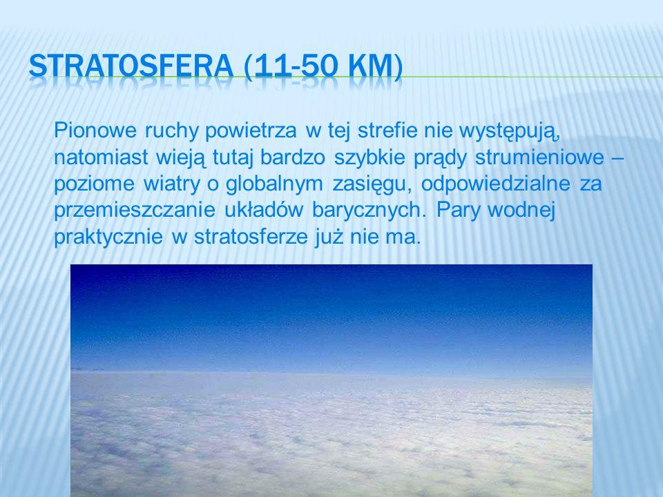 Pionowe ruchy powietrza w tej strefie nie występują, natomiast wieją tutaj bardzo szybkie prądy strumieniowe – poziome wiatry o globalnym zasięgu, odp