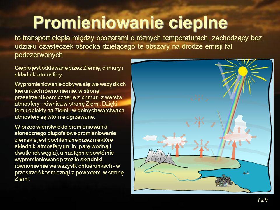 14 to transport ciepła między obszarami o różnych temperaturach, zachodzący bez udziału cząsteczek ośrodka dzielącego te obszary na drodze emisji fal
