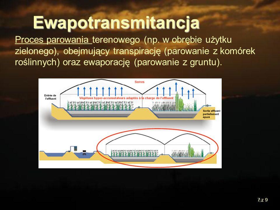 15 Proces parowania terenowego (np. w obrębie użytku zielonego), obejmujący transpirację (parowanie z komórek roślinnych) oraz ewaporację (parowanie z