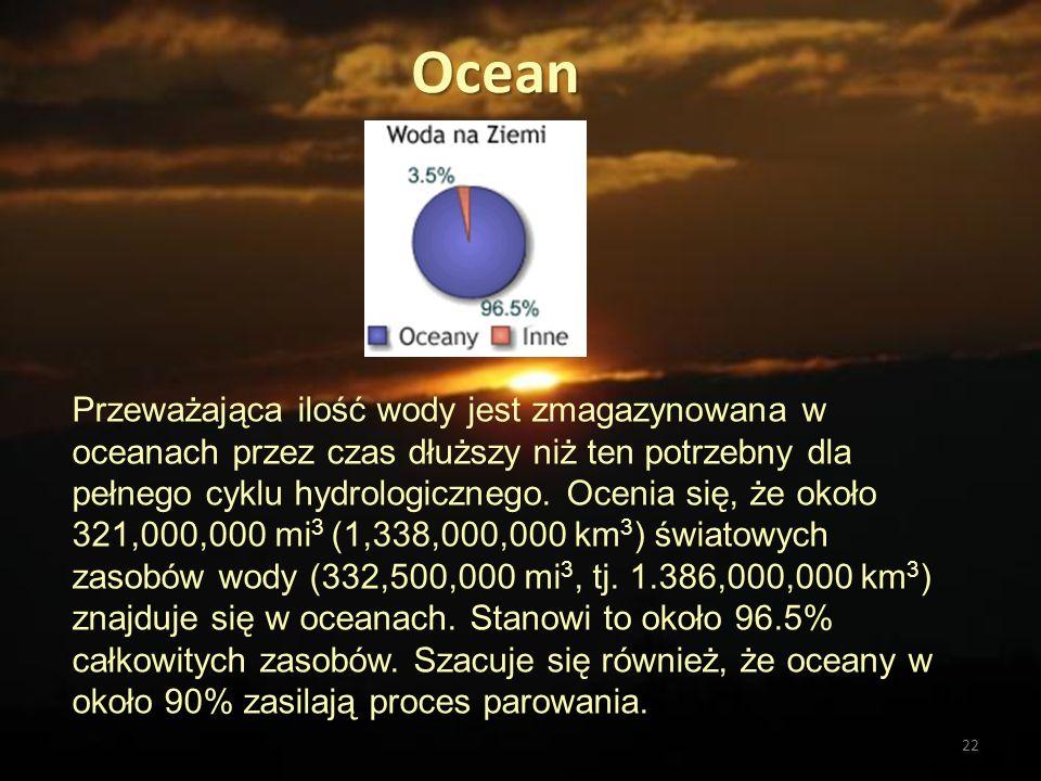 22 Ocean Przeważająca ilość wody jest zmagazynowana w oceanach przez czas dłuższy niż ten potrzebny dla pełnego cyklu hydrologicznego. Ocenia się, że
