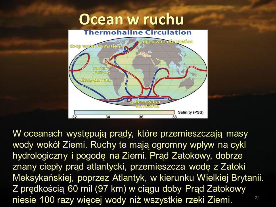 24 Ocean w ruchu W oceanach występują prądy, które przemieszczają masy wody wokół Ziemi. Ruchy te mają ogromny wpływ na cykl hydrologiczny i pogodę na