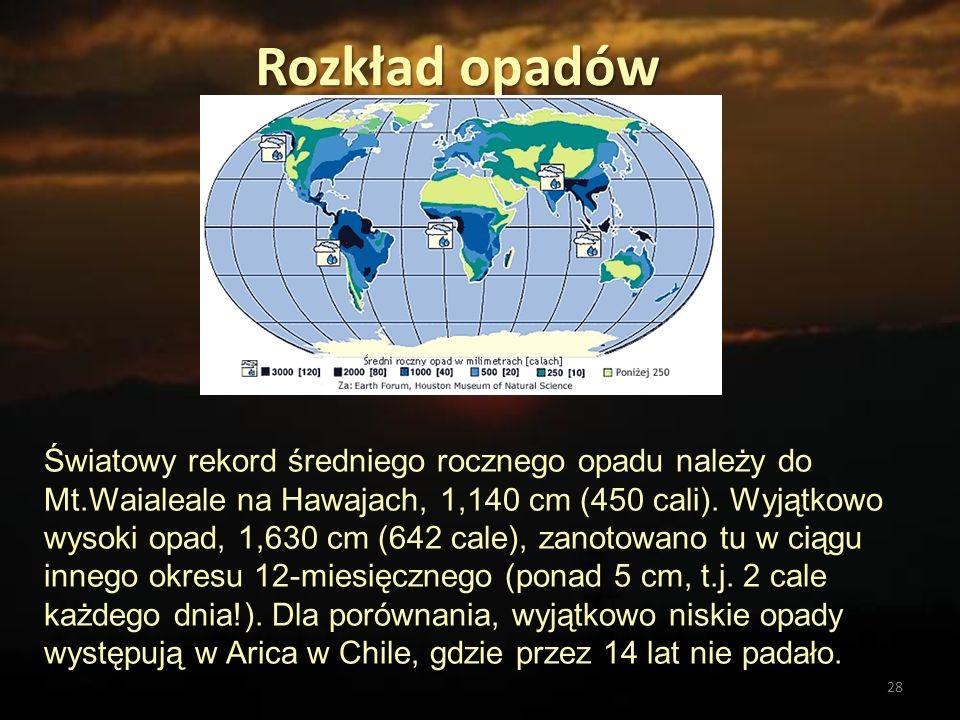 28 Rozkład opadów Światowy rekord średniego rocznego opadu należy do Mt.Waialeale na Hawajach, 1,140 cm (450 cali). Wyjątkowo wysoki opad, 1,630 cm (6