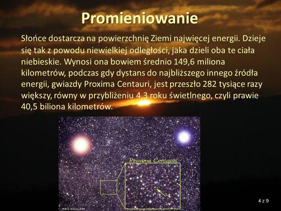 Promieniowanie Słońce dostarcza na powierzchnię Ziemi najwięcej energii. Dzieje się tak z powodu niewielkiej odległości, jaka dzieli oba te ciała nieb