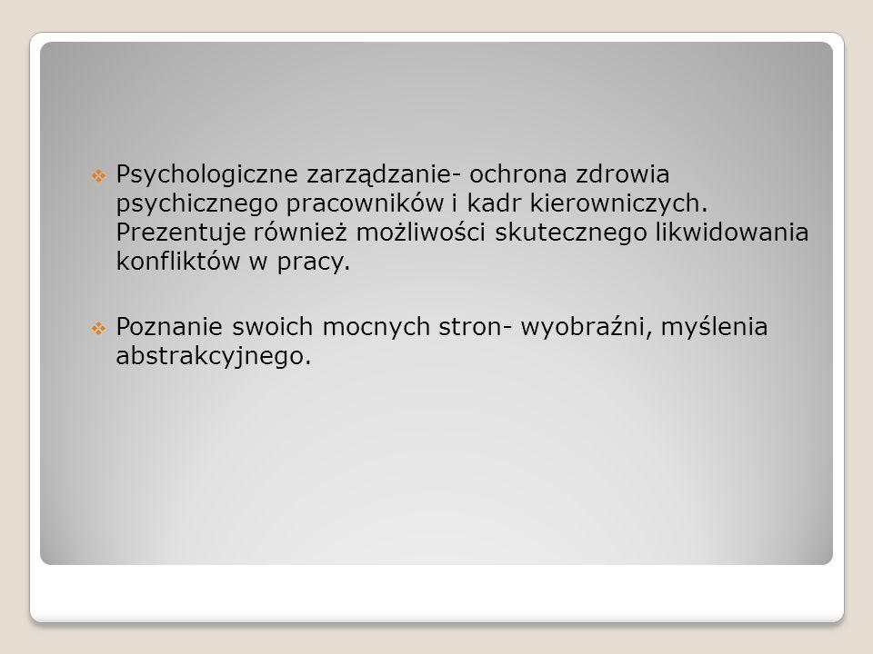 Psychologiczne zarządzanie- ochrona zdrowia psychicznego pracowników i kadr kierowniczych. Prezentuje również możliwości skutecznego likwidowania konf