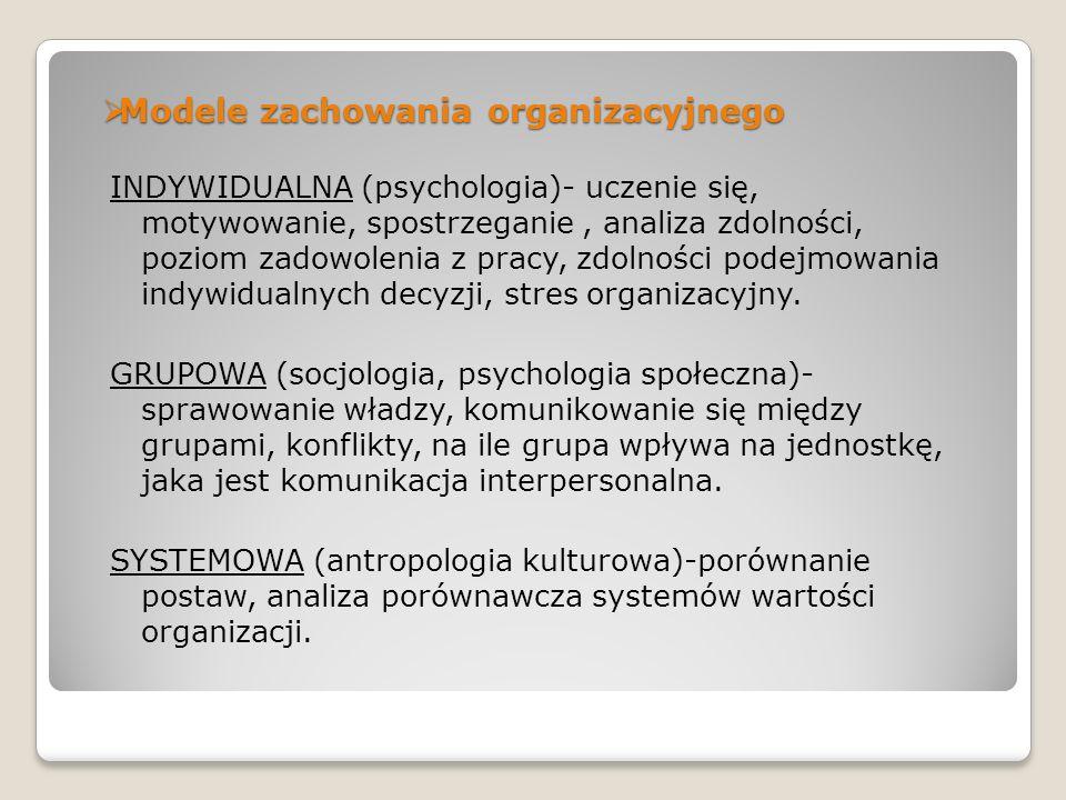Modele zachowania organizacyjnego Modele zachowania organizacyjnego INDYWIDUALNA (psychologia)- uczenie się, motywowanie, spostrzeganie, analiza zdoln