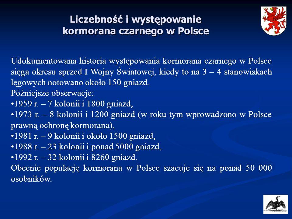 Udokumentowana historia występowania kormorana czarnego w Polsce sięga okresu sprzed I Wojny Światowej, kiedy to na 3 – 4 stanowiskach lęgowych notowa