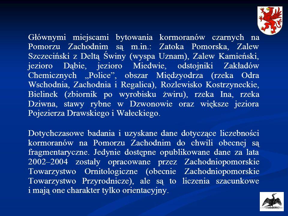 Głównymi miejscami bytowania kormoranów czarnych na Pomorzu Zachodnim są m.in.: Zatoka Pomorska, Zalew Szczeciński z Deltą Świny (wyspa Uznam), Zalew