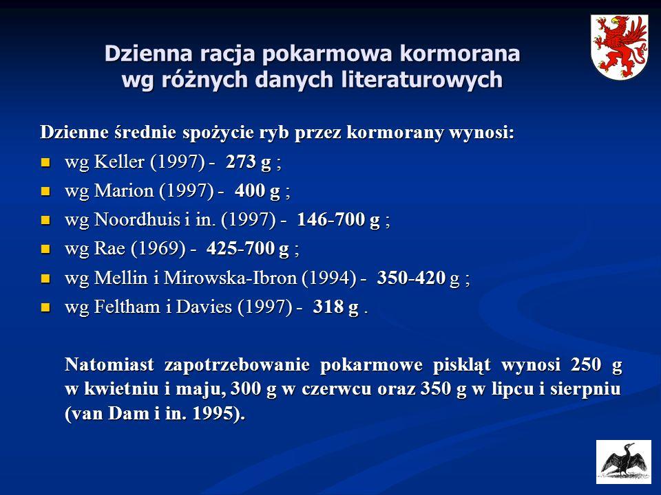 Dzienna racja pokarmowa kormorana wg różnych danych literaturowych Dzienne średnie spożycie ryb przez kormorany wynosi: wg Keller (1997) - 273 g ; wg