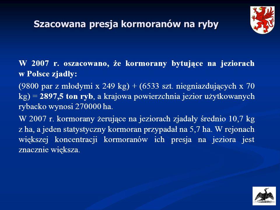 Szacowana presja kormoranów na ryby W 2007 r. oszacowano, że kormorany bytujące na jeziorach w Polsce zjadły: (9800 par z młodymi x 249 kg) + (6533 sz