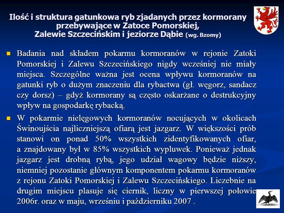Ilość i struktura gatunkowa ryb zjadanych przez kormorany przebywające w Zatoce Pomorskiej, Zalewie Szczecińskim i jeziorze Dąbie (wg. Bzomy) Badania