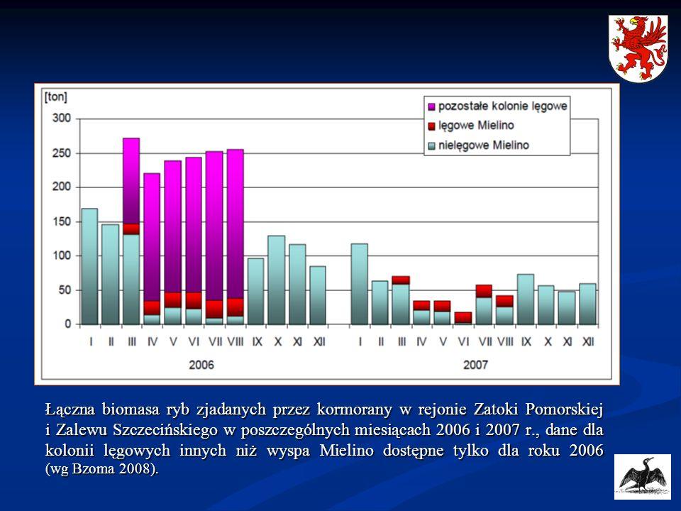 Łączna biomasa ryb zjadanych przez kormorany w rejonie Zatoki Pomorskiej i Zalewu Szczecińskiego w poszczególnych miesiącach 2006 i 2007 r., dane dla