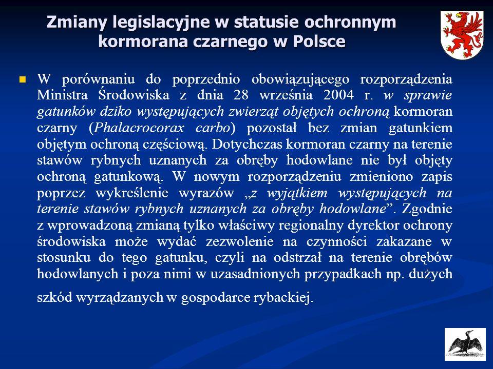 Zmiany legislacyjne w statusie ochronnym kormorana czarnego w Polsce W porównaniu do poprzednio obowiązującego rozporządzenia Ministra Środowiska z dn