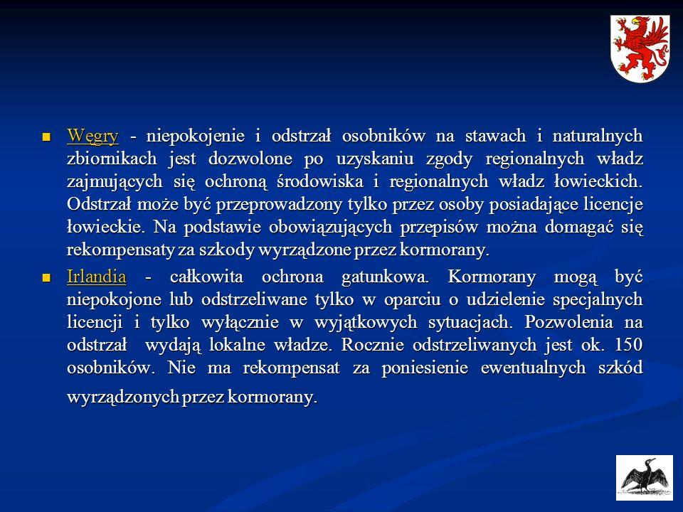 Węgry - niepokojenie i odstrzał osobników na stawach i naturalnych zbiornikach jest dozwolone po uzyskaniu zgody regionalnych władz zajmujących się oc