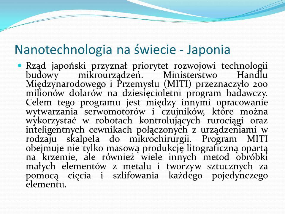 Nanotechnologia na świecie - Japonia Rząd japoński przyznał priorytet rozwojowi technologii budowy mikrourządzeń. Ministerstwo Handlu Międzynarodowego